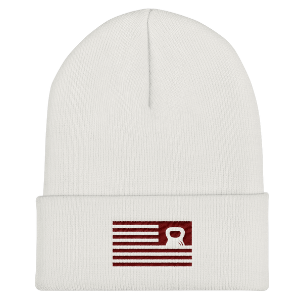 NEW: Cuffed Beanie Resurgence Kettlebell Flag (dark) on Light Hats (2 Colors!)