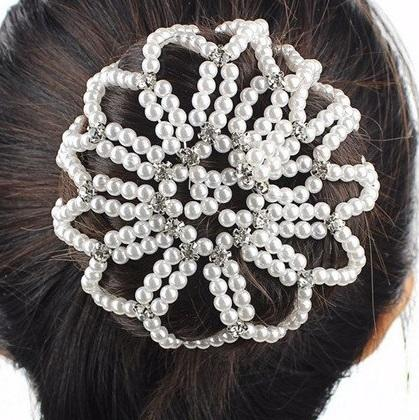 Hamag Pearl Bun Hair Net with Crystals