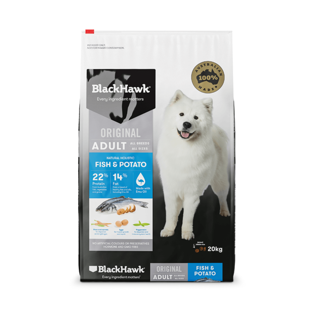 BlackHawk Fish and Potato 20kg-Dog Food-Southern Sport Horses
