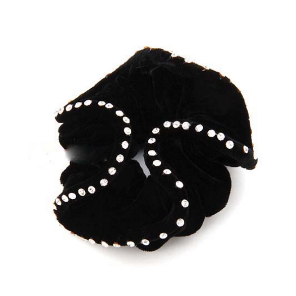 Hamag Black Velvet Hair Scrunchie with Crystals-Hair Accessories-Southern Sport Horses