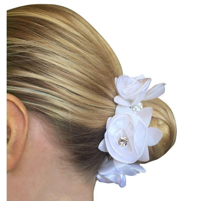 Hamag Rose Petal Hair Scrunchie with Crystals-Hair Accessories-Southern Sport Horses