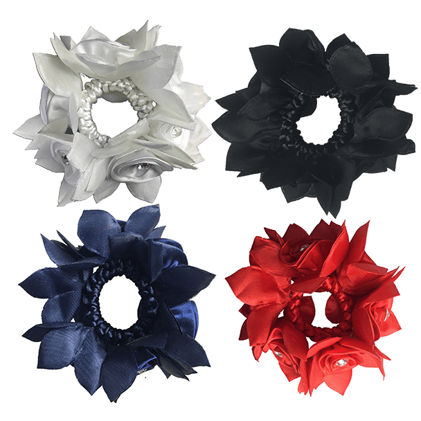 Hamag Rose Petal Hair Scrunchie with Crystals-Hamag-Southern Sport Horses