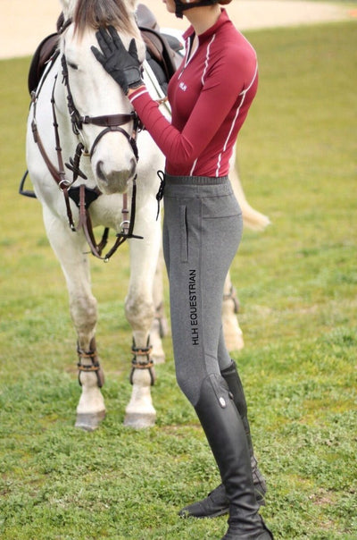 HLH Equestrian Apparel Silicon seat sweatpants in Dark Marle Grey-Riding pants-Southern Sport Horses