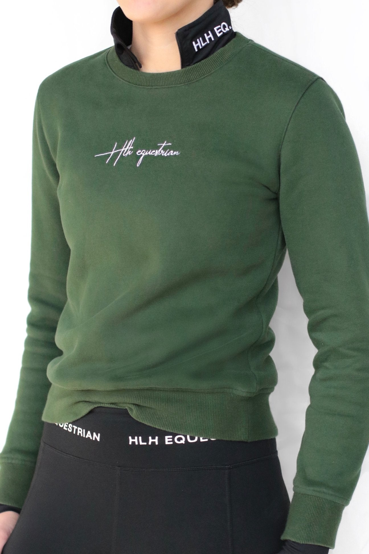 HLH Equestrian Apparel Lush Crew Sweater in Hunter Green