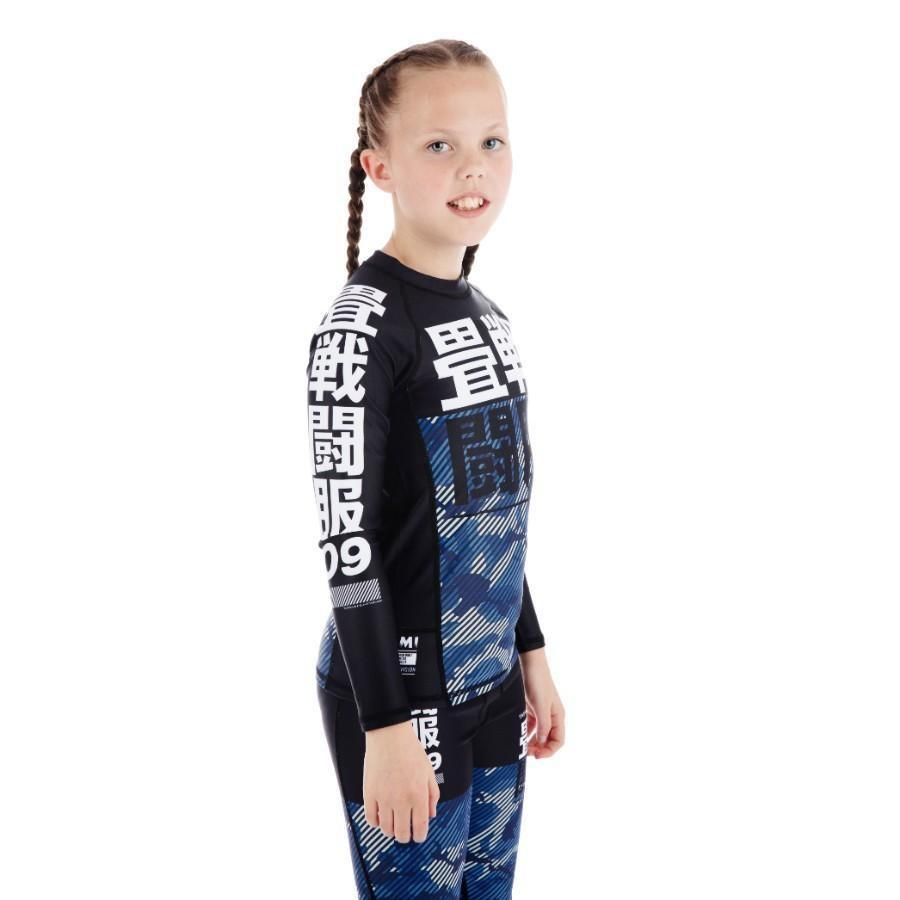 Kids Essential Camo Rash Guard - Blue