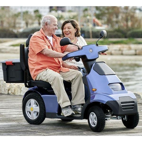 AFIKIM Afiscooter S 4-Wheel Scooter Blue Duale Seat Side View