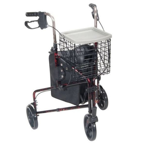 Drive Medical Deluxe 3 Wheel Aluminum Rollator w/ 7.5 Inch Castors Red Front View