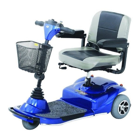 Merits Health S235 Pioneer 3 Wheel Mobility Scooter Blue Side View