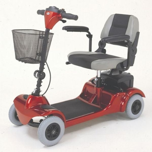 Merits Health S549 Mini-Coupe 4 Wheel Scooter Red Side View