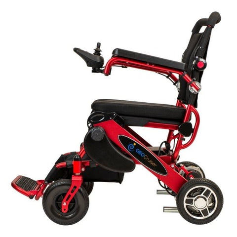 Pathway Mobility Geo Cruiser DX Folding Electric Wheelchairs Red Side View