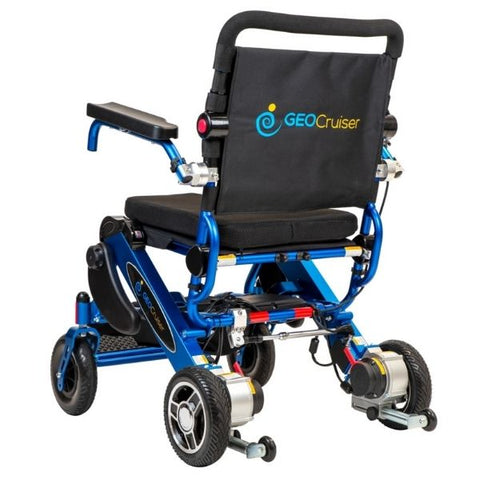 Pathway Mobility Geo Cruiser DX Folding Power Wheelchair Blue Back View