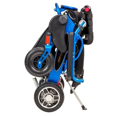 Pathway Mobility Geo Cruiser DX Folding Power Wheelchair Blue Folded View
