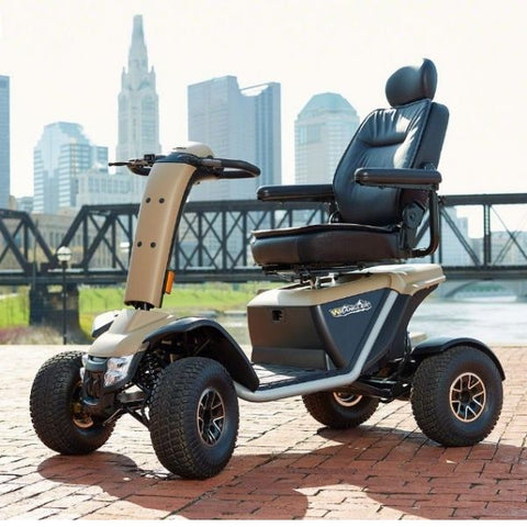 Pride Mobility Wrangler Heavy Duty Scooter Outdoors Side View