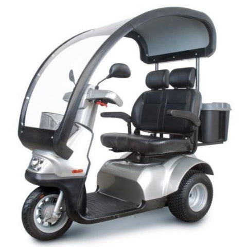 AFIKIM Afiscooter Dual Seat S 3 Wheel Scooter Left Side View With Canopy
