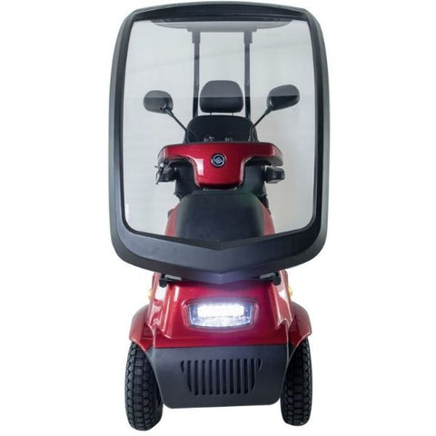 AFIKIM Afiscooter C4 Breeze 4-Wheel Scooter Red With Canopy Front View