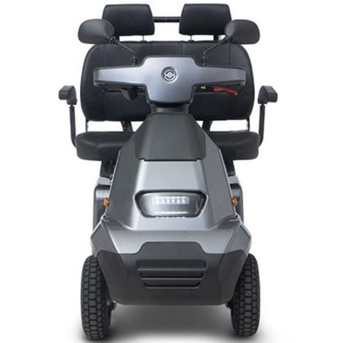 AFIKIM Afiscooter S 4-Wheel Scooter Dark Grey Dual Seat Front View