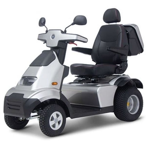 AFIKIM Afiscooter S 4-Wheel Scooter Silver Side View With Golf Tires