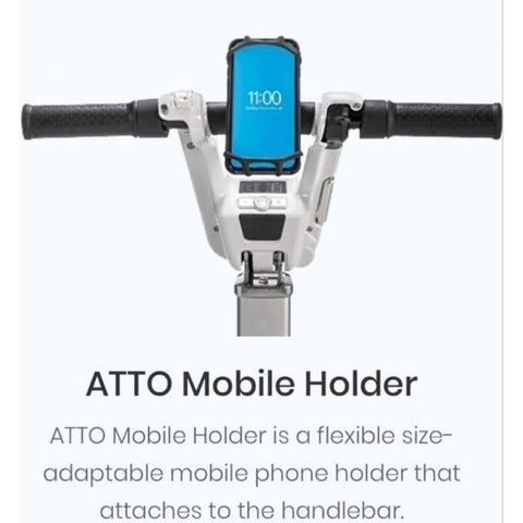 ATTO Mobile Holder on Tiller of Scooter