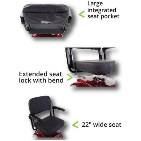 Amigo HD Heavy Duty Standard Mobility Scooter Seat Pocket, Extended Seat and Wide Seat View