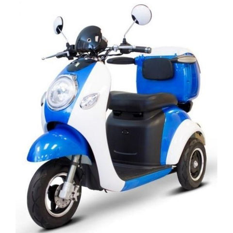 E-Wheels EW-37 3-Wheel Scooter Blue White Left View
