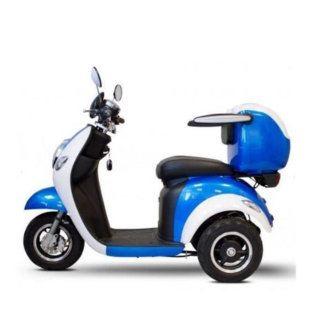 E-Wheels EW-37 3-Wheel Scooter Blue White Side View