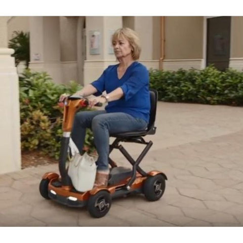EV Rider TeQno AF Folding Mobility Scooter Front View with Passenger