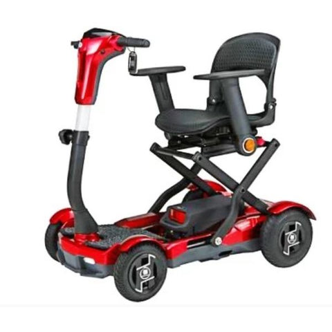 EV Rider TeQno AF Folding Mobility Scooter Red Metallic Front View