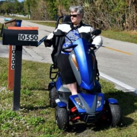 EV Rider Vita Monster 4 Wheel Scooter Heartway - S12X Blue Front  View with Passenger