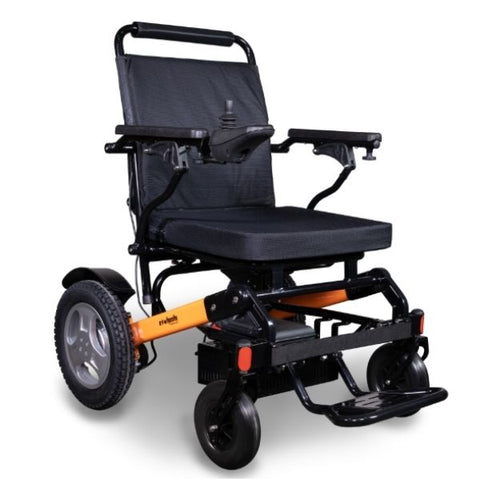 EWheels EW-M45 Folding Power Wheelchair Orange Black Front View