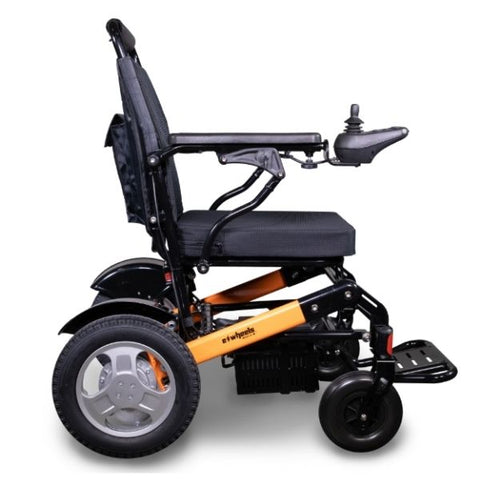 EWheels EW-M45 Folding Power Wheelchair Orange Black Side View