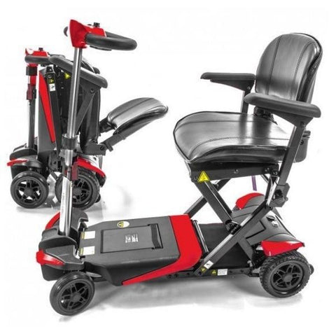 Enhance Mobility Transformer 4-Wheel Scooter S3021 Red Unfolding and Folding View