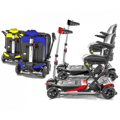 Enhance Mobility Transformer 4-Wheel Scooter S3021 Yellow and Blue Folding and Black and Red Unfolding View