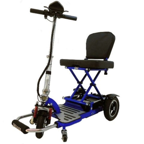 Enhance Mobility Triaxe Cruze Folding Mobility Scooter Blue Left Side View