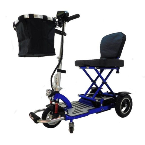 Enhance Mobility Triaxe Cruze Folding Mobility Scooter Blue Left View with Front Bag