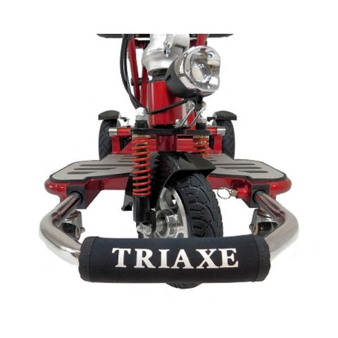 Enhance Mobility Triaxe Cruze Folding Mobility Scooter Front Wheel and Headlights View