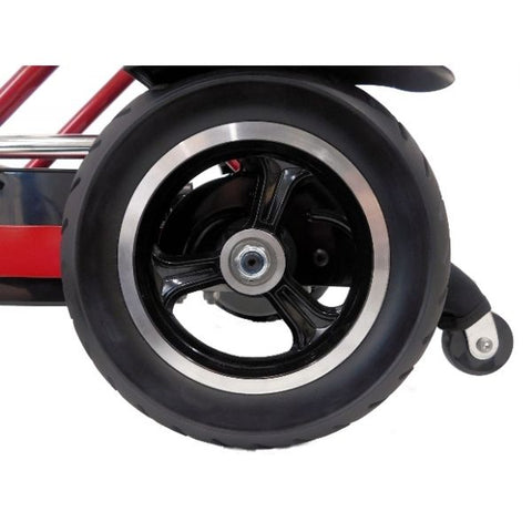 Enhance Mobility Triaxe Cruze Folding Mobility Scooter Rear Wheel View