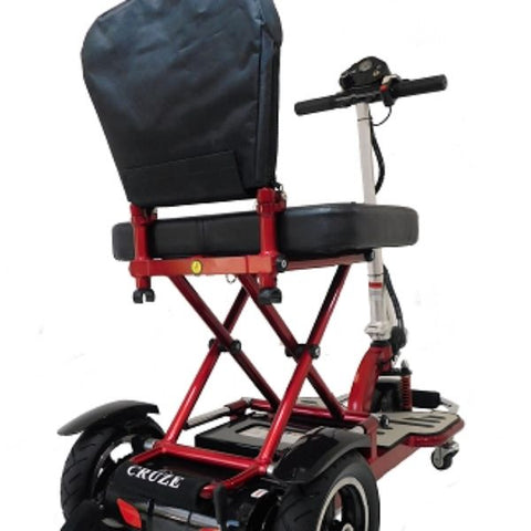 Enhance Mobility Triaxe Cruze Folding Mobility Scooter Red Back View