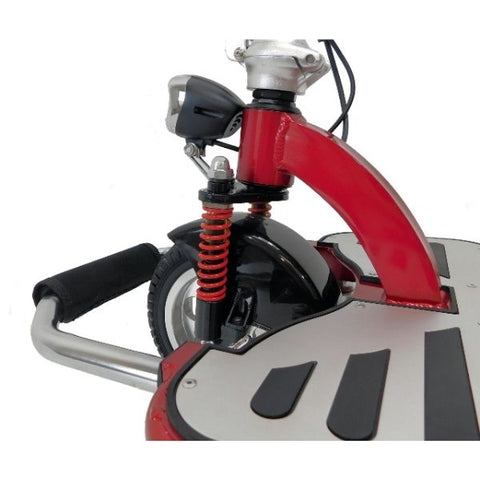 Enhance Mobility Triaxe Cruze Folding Mobility Scooter Red Drive Lever and Front Wheel View