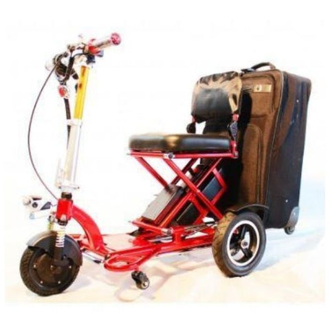 Enhance Mobility Triaxe Sport T3045 3 Wheel Scooter Red Left View With Luggage