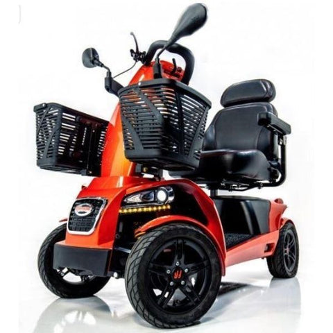 FreeRider USA FR1 4 Wheel Bariatric Mobility Scooter Front Basket and Wheel View
