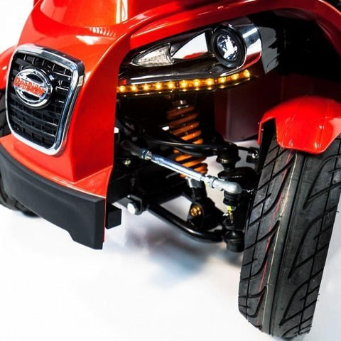 FreeRider USA FR1 4 Wheel Bariatric Mobility Scooter Front  Wheel and Headlight View View