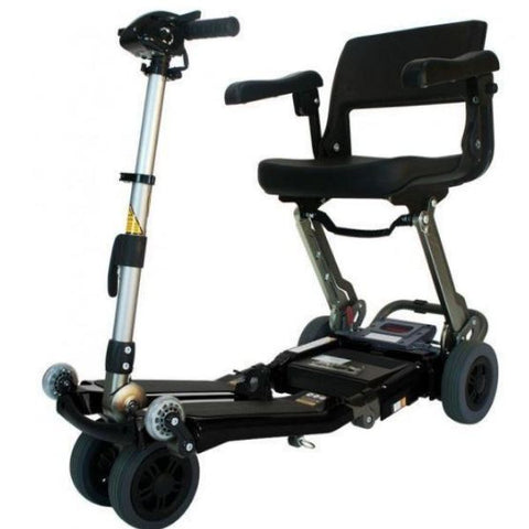 FreeRider USA Luggie Elite 4 Wheel Bariatric Foldable Travel Scooter Black Front Side View