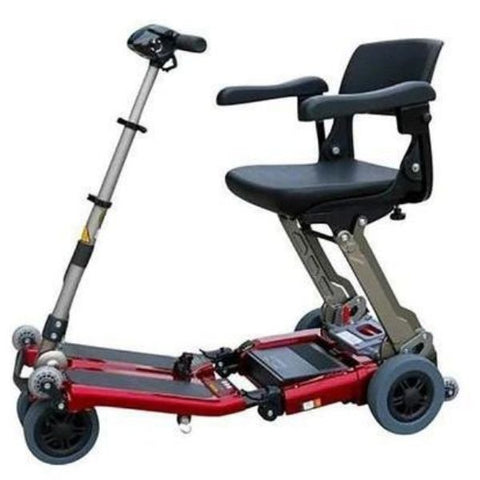 FreeRider USA Luggie Deluxe 4 Wheel Folding Travel Scooter Red Front View