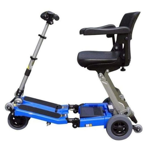 FreeRider USA Luggie Elite 4 Wheel Bariatric Foldable Travel Scooter Blue Side View