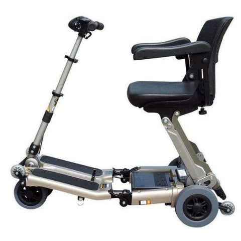 FreeRider USA Luggie Elite 4 Wheel Bariatric Foldable Travel Scooter Champagne Side View