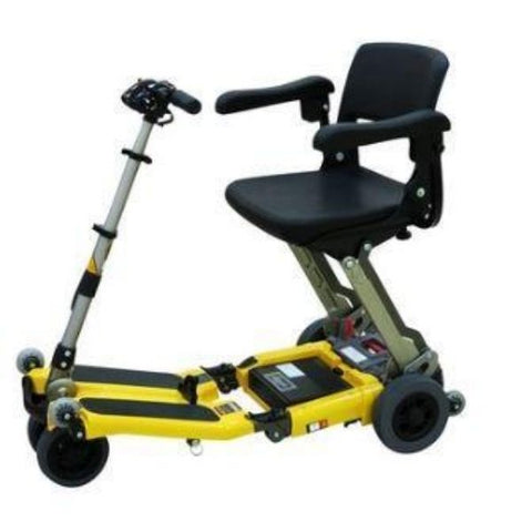 FreeRider USA Luggie Elite 4 Wheel Bariatric Foldable Travel Scooter Yellow Right View