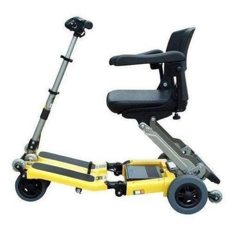 FreeRider USA Luggie Elite 4 Wheel Bariatric Foldable Travel Scooter Yellow Side View