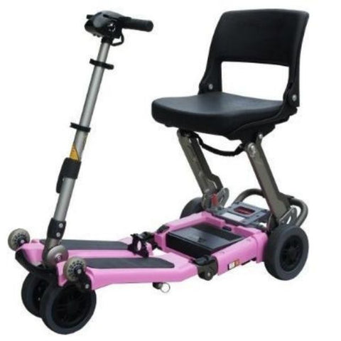 FreeRider USA Luggie Standard 4 Wheel Foldable Travel Scooter Pink Left View