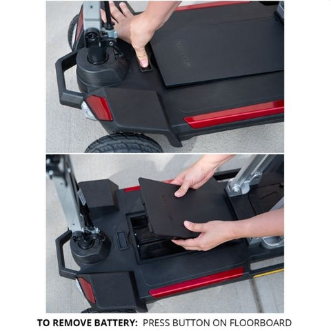 Golden Technologies Buzzaround Carry On Folding Mobility Scooter Floorboard and Battery View