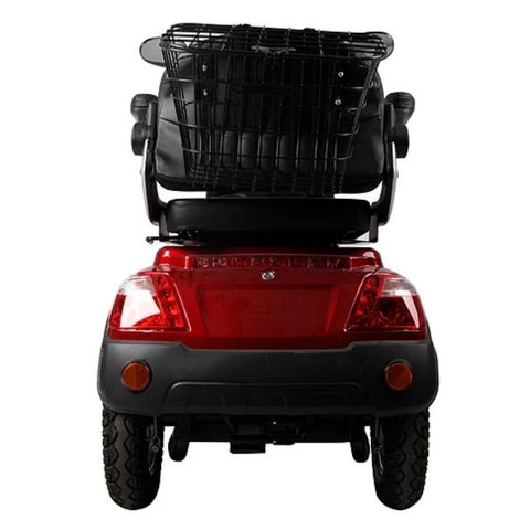 Green Transporter EV3 3 Wheel Mobility Scooter Back Storage Basket View